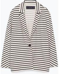 Zara Striped Velour Blazer - Lyst