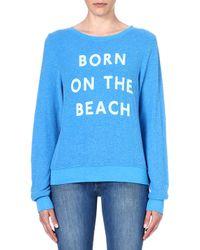 Wildfox Born On The Beach Jersey Sweatshirt Cerulean - Lyst