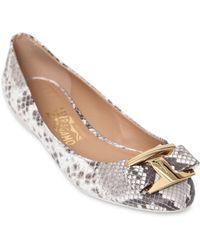 Ferragamo Ninna Python Embossed Leather Ballerinas - Lyst