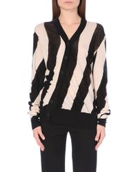 Ann Demeulemeester Diagonal Striped Knitted Cotton Cardigan - Lyst
