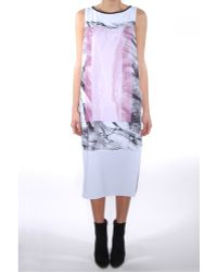 Helmut Lang Mason Print Silk Dress - Lyst