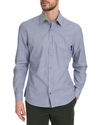 Lacoste Blue Checked Shirt With Logo On Chest - Lyst