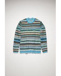 Acne Studios Fn-mn-knit000184 Azure Blue/light Blue Striped Sweater