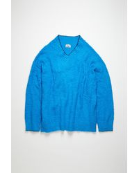 Acne Studios - Fn-wn-knit000187 Bright Blue Brushed V-neck Sweater - Lyst