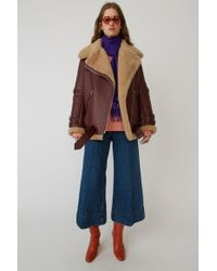 Acne Studios - Shearling Jacket burgundy/beige - Lyst