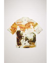 Acne Studios Fn-mn-shir000210 Cream Multi Horse-print Shirt - Natural