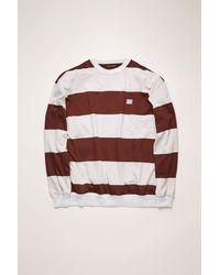 Acne Studios Fa-ux-swea000025 Cognac Brown Striped Sweatshirt - Multicolour