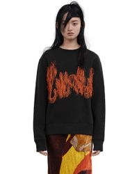 Acne Studios Carly Flame Embellished Cotton-blend Sweatshirt - Black