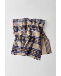 Acne Studios Cassiar Check Oatmeal Beige / Blue Check Checked Logo Scarf