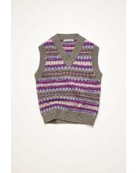 Acne Studios Fn-wn-knit000279 Purple/grey Multi Fair Isle Gilet - Gray