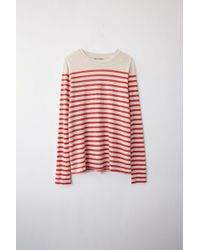 Acne Studios - Fn-wn-tshi000021 White/red Striped Linen T-shirt - Lyst