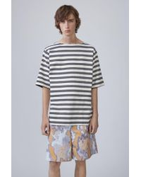 Acne Studios - Nimes Short ecru/dark Navy Stripes - Lyst