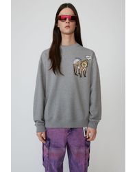 Acne Studios Animal-embroidered Sweatshirt light Grey Melange - Gray