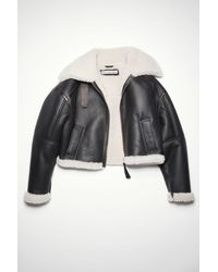 Acne Studios Fn-wn-leat000157 Black/off White Shearling Jacket