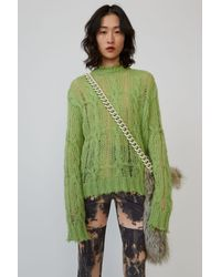 Acne Studios Frayed Cable-knit Jumper lime Green