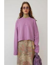 Acne Studios - Cropped Sweatshirt violet Pink - Lyst