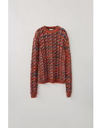 Acne Studios - Fn-mn-knit000111 Rosewood/red Melange Tuck-knit Sweater - Lyst