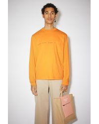 Acne Studios Long Sleeved Logo Print T-shirt - Orange