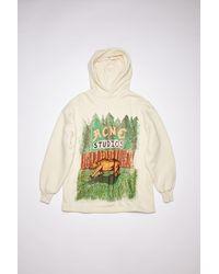 Acne Studios Fn-wn-swea000172 Green/ecru Hooded Sweatshirt - Multicolour