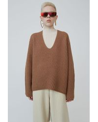 Acne Studios Ribbed V-neck Jumper caramel Brown