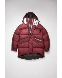 Acne Studios Fn-mn-outw000435 Burgundy Hooded Down Coat - Red