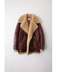Acne Studios - Velocite Burgundy/beige Shearling Jacket - Lyst