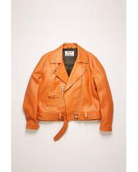 Acne Studios New Merlyn Peach Orange Leather Biker Jacket
