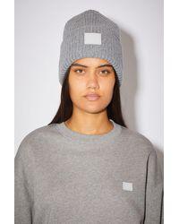 Acne Studios Rib knit beanie hat - Gris