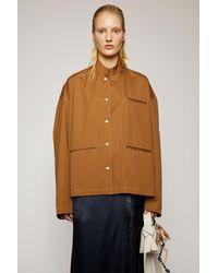 Acne Studios Mandarin-collar Cotton Overshirt antique Brown