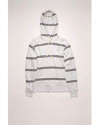Acne Studios Fa-ux-swea000035 Pale Grey Melange Striped Hooded Sweatshirt