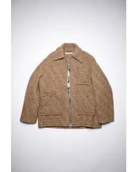 Acne Studios Fn-wn-outw000495 Beige/brown Oversized Zip Coat - Natural