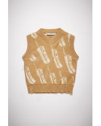 Acne Studios Fn-wn-knit000356 Camel Brown Phone Sweater Vest