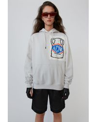 Acne Studios Ceramic-patch Hooded Sweatshirt pale Grey - Gray