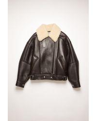 Acne Studios Fn-wn-leat000125 Dark Brown/beige Shearling Jacket