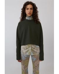Acne Studios - Odice Dark Green Cropped Sweatshirt - Lyst