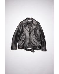 Acne Studios Fn-mn-leat000114 Black Leather Biker Jacket