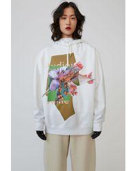 Acne Studios Flower-print Hooded Sweatshirt green/multi
