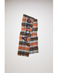 Acne Studios - Skinny Check Scarf navy/orange - Lyst