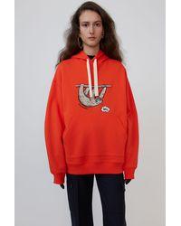 Acne Studios Animal-embroidered Hooded Sweatshirt tomato Orange