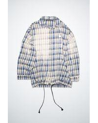 Acne Studios Fa-ux-shir000019 Oat Beige/blue Flannel Overshirt