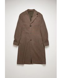 Acne Studios Fn-mn-outw000493 Burgundy/light Blue Houndstooth Wool-blend Coat