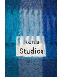 Acne Studios Écharpe à carreaux en alpaga mélangé Vally - Bleu