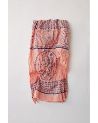 Acne Studios - Printed Cotton Scarf pink Block Print - Lyst