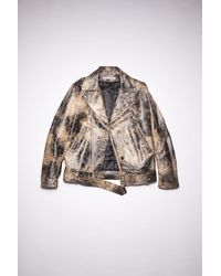 Acne Studios Fn-mn-leat000155 Black/beige Leather Biker Jacket - Natural