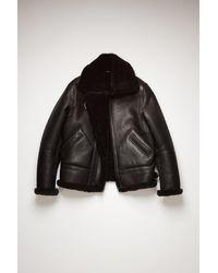 Acne Studios Fn-mn-leat000112 Black Shearling Aviator Jacket