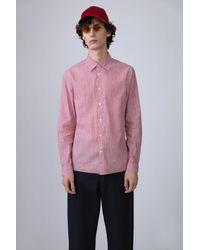Acne Studios Glasgow Chamb Vermillion Red Slim Fit Shirt