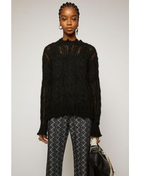 Acne Studios Frayed Cable-knit Jumper black