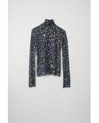 Acne Studios Star-print Roll Neck Top mineral Blue