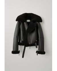 Acne Studios Fn-wn-leat000028 Black / Black Shearling Aviator Jacket