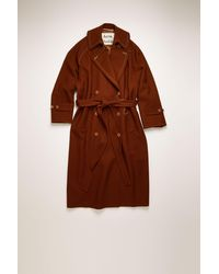 Acne Studios Fn-wn-outw000257 Rust Brown Wool-twill Trench Coat